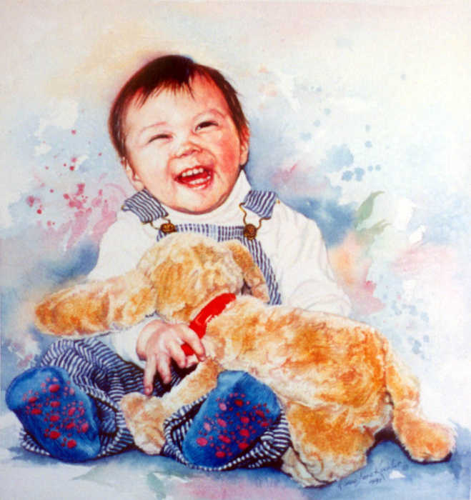 portrait painting of baby boy
