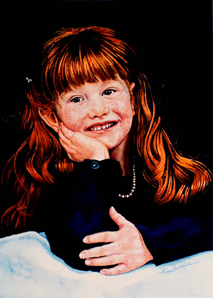 portrait painting of red-haired girl