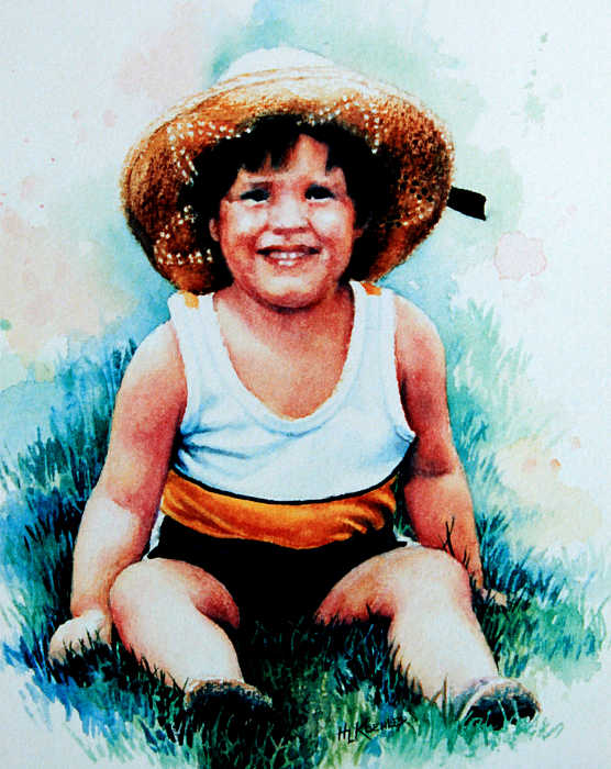portrait painting of toddler in grass