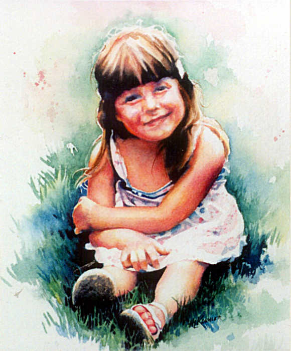 portrait painting of little girl