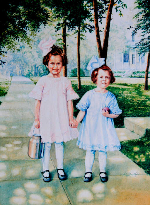 nostalgic first day of school portrait painting