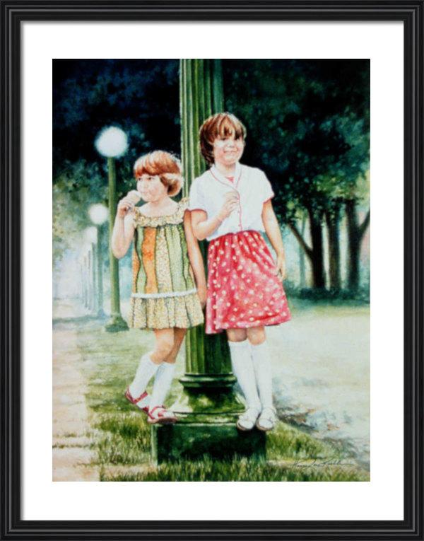 Girls Eating Ice Cream Portrait Art