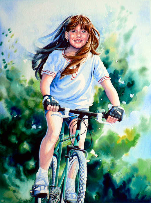 painting of girl on bike