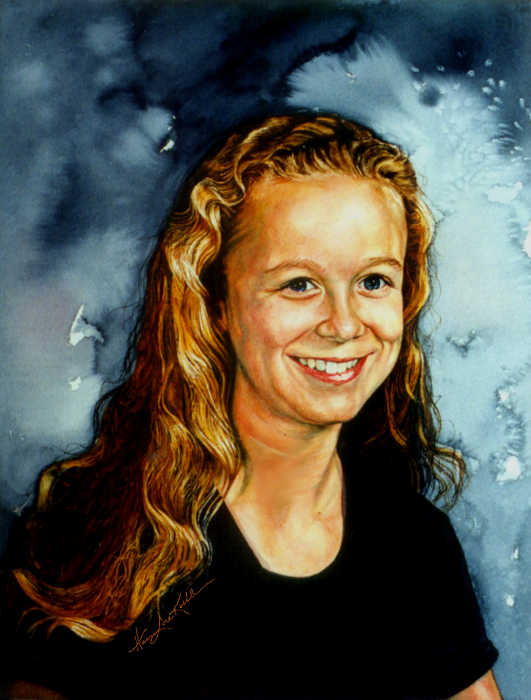 portrait painting of a teen girl