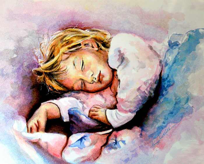 portrait painting of toddler sleeping