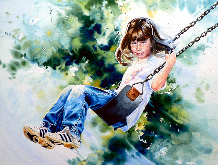 portrait painting of girl on a swing