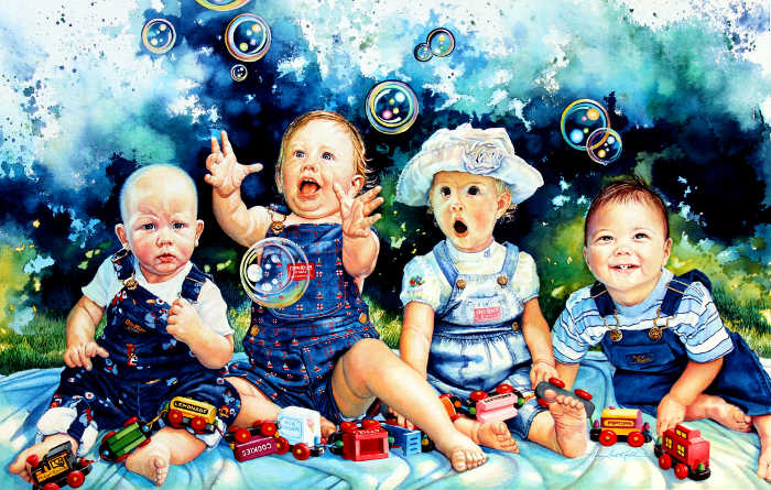 painting of four baby portraits