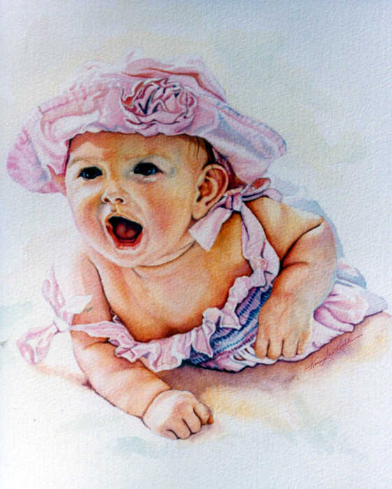portrait painting of baby girl