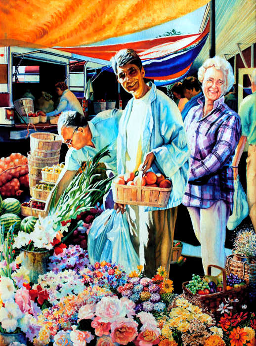 portrait painting of friend at an outdoor farmers market