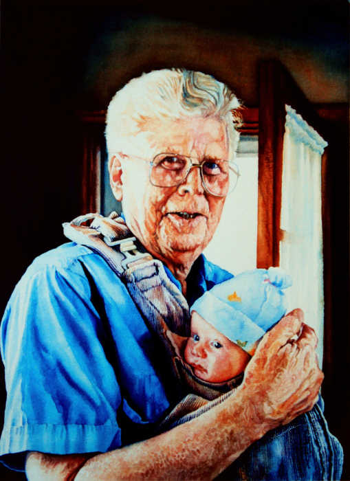 portrait of Grandfather holding baby
