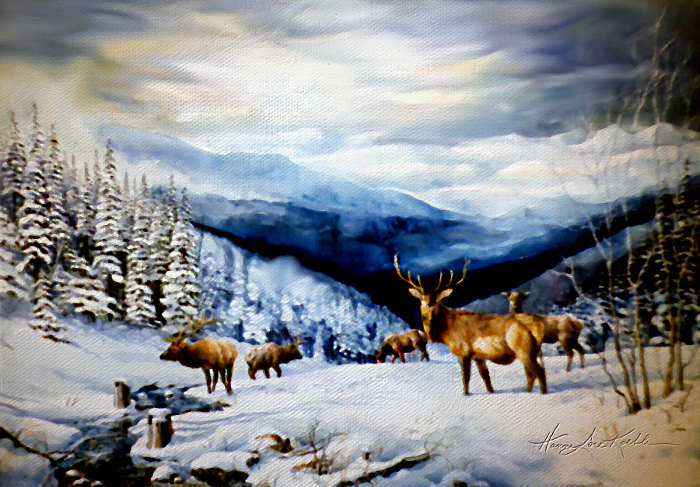 painting of elk in the Rocky Mountains