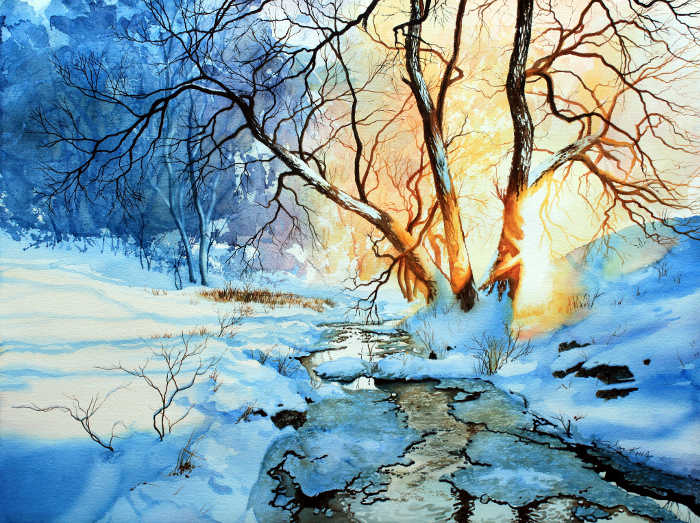 winter sunset landscape painting