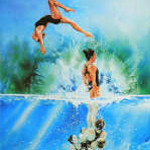 synchronized swimming painting by sports artist Hanne Lore Koehler