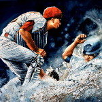 action baseball painting by sports artist