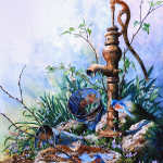 painting of pring garden water pump with bluebirds