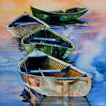 misty morning maritime row boat painting