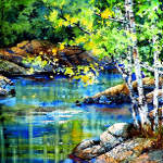 forest stream painting in spring