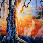 weeping willow sunrise painting