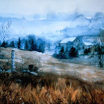moody spring valley landscape painting