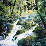dragonfly creek in the woods painting