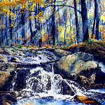 painting of autumn creek in woods