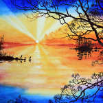 colorful sunset lake reflections painting