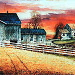 painted autumn farm landscape scene