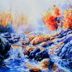 misty autumn woods creek waterfall painting
