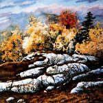 painting of colorful Canadian autumn trees and rocks