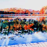 Painting of Canadian autumn woods reflecting in lake