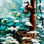still life painting of garden water pump with queen anne's lace