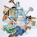 still life painting of garden tools pots boots hat