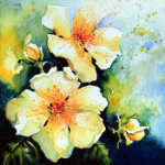 painting of garden roses