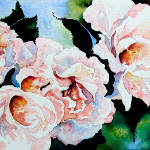 watercolor painting of pink garden roses