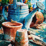 still life painting of garden tools watering can clay pots