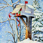 Country Mailbox With Christmas Gift, Ribbons And Mitten