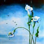painting of calla lilies in water with reflection