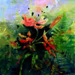 impressionistic painting of poppies and ferns in the garden