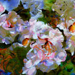 impressionistic painting of fictitious flowers in the garden