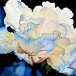 watercolor painting of peony with dew drops