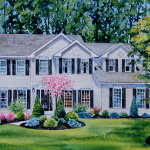 commission a watercolor home portrait from Google Street View