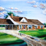 Oklahoma country home watercolor portrait commission