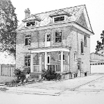 architectural pencil drawing by artist