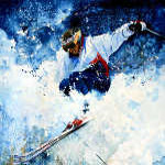 White Magic Alpine skier painting by sports artist