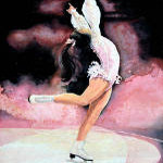 figure skater painting by sports artist Hanne Lore Koehler