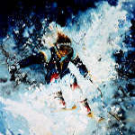 Skiing painting