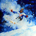 Alpine skier action painting