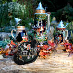 still life art photo of beer steins in garden