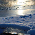 artistic winter photography of river ice