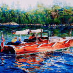 wood boat cruiser painting